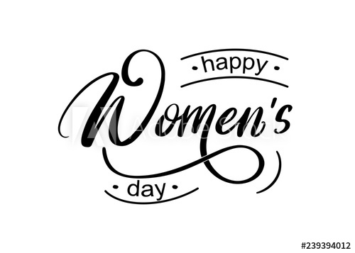 happy womens day hand written lettering isolated on