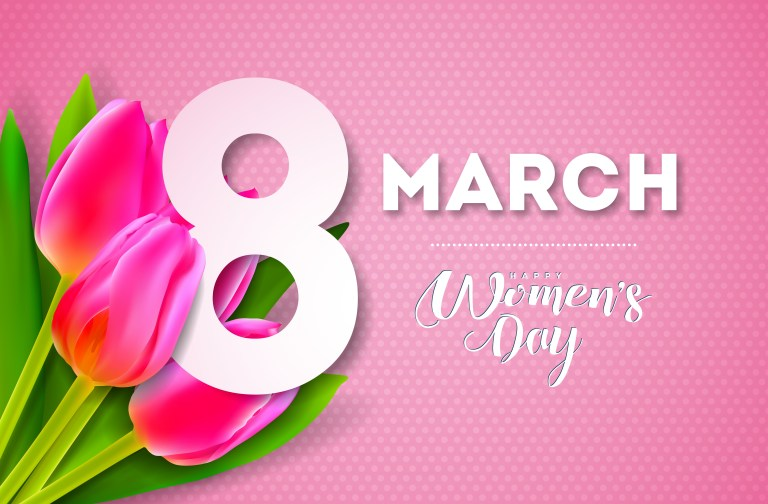 happy womens day illustration with tulip bouquet and 8