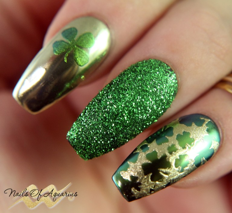 lucky charms st patricks day nail art with wildflowers