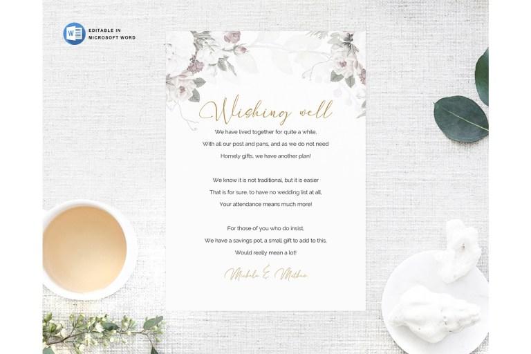 microsoft word printable wedding wishing