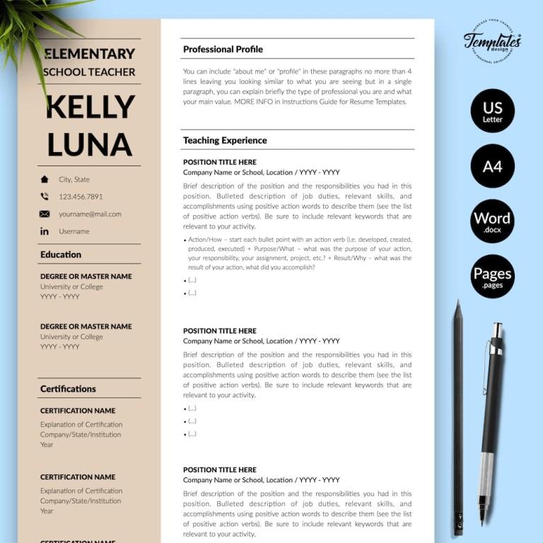 modern teacher resume kelly luna templates design co