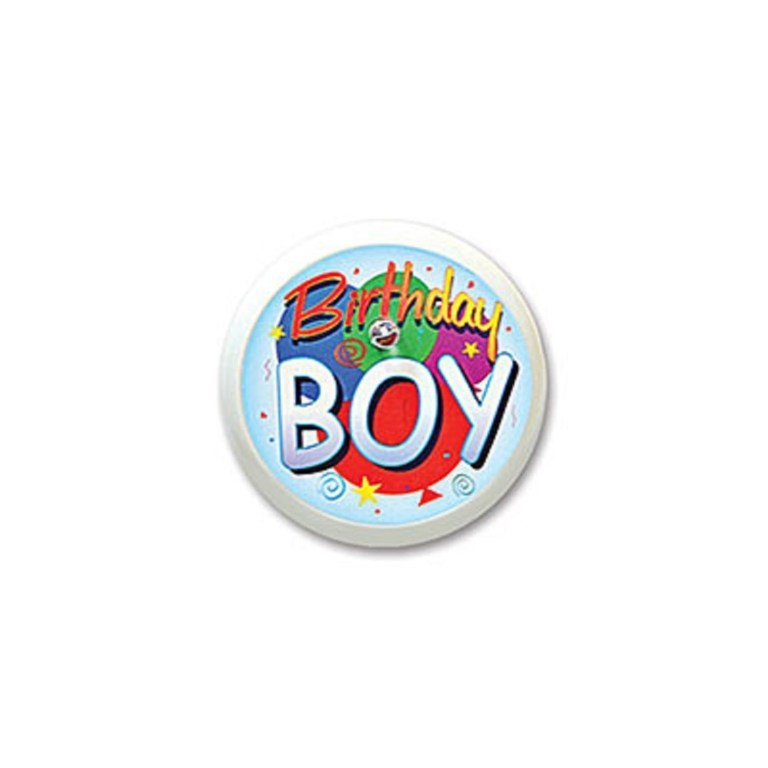 pack of 6 white birthday boy birthday celebration blinking buttons 2