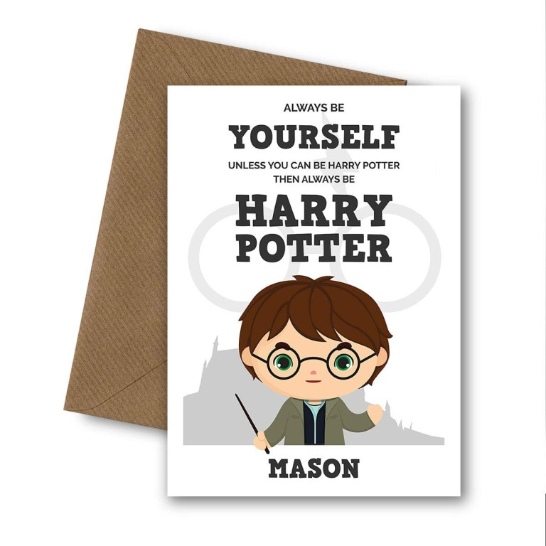 personalised harry potter greetings card for son daughter