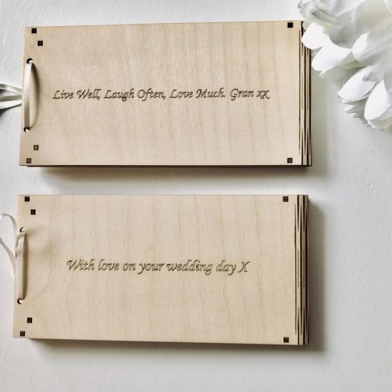 personalised wooden money wedding gift envelopes