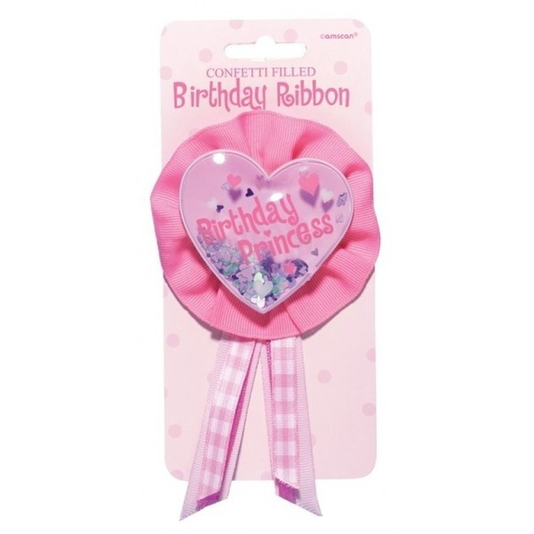 pink birthday ribbon birthday princess amscan 210010 1 piece
