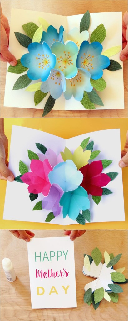 pop up flowers diy printable mothers day card a piece of