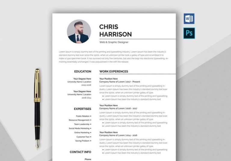 professional resume template word psd format 2020