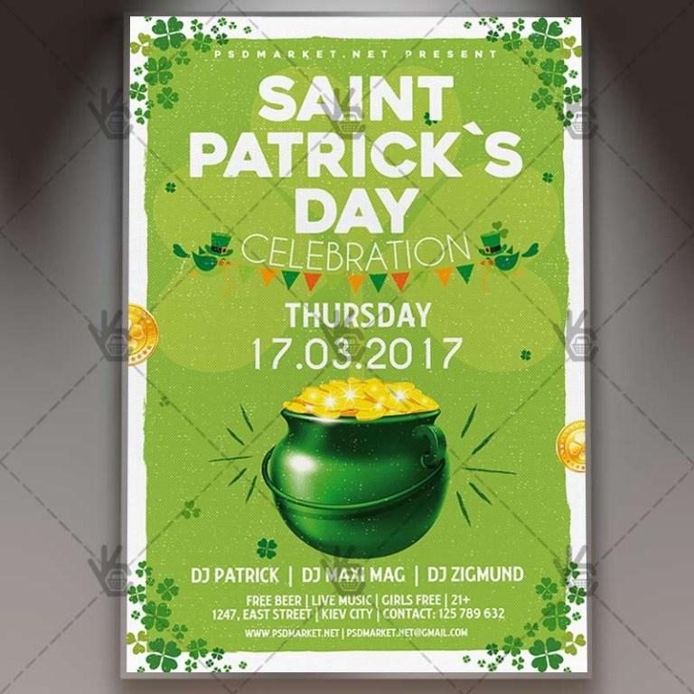 saint patricks day premium flyer psd template psdmarket