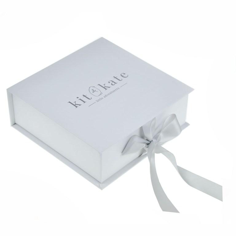 silver foil monogram logo embossed or printed paper wedding invitation box
