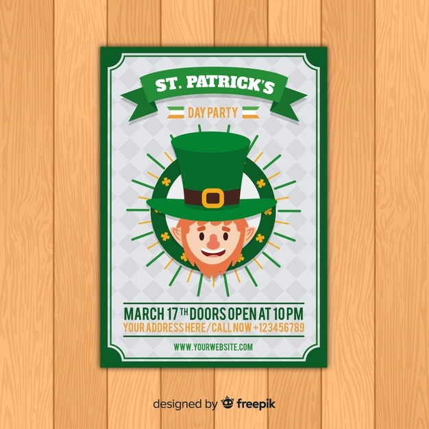 st patricks day flyer template free vector