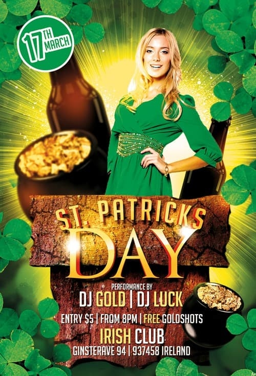 st patricks day party free psd flyer template for