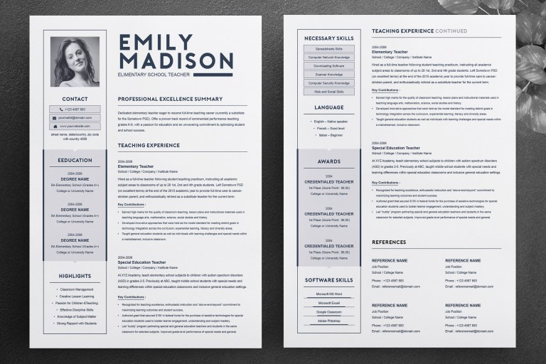 teacher resume template for ms word 2 page resume