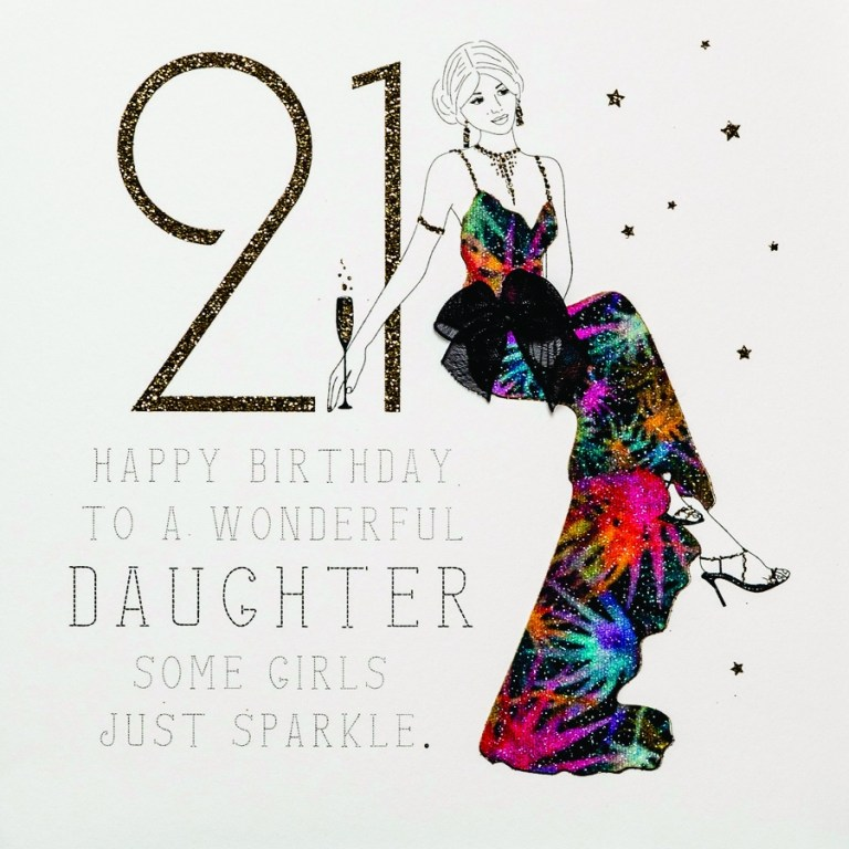 to a wonderful daughter handmade 21st birthday card rb23