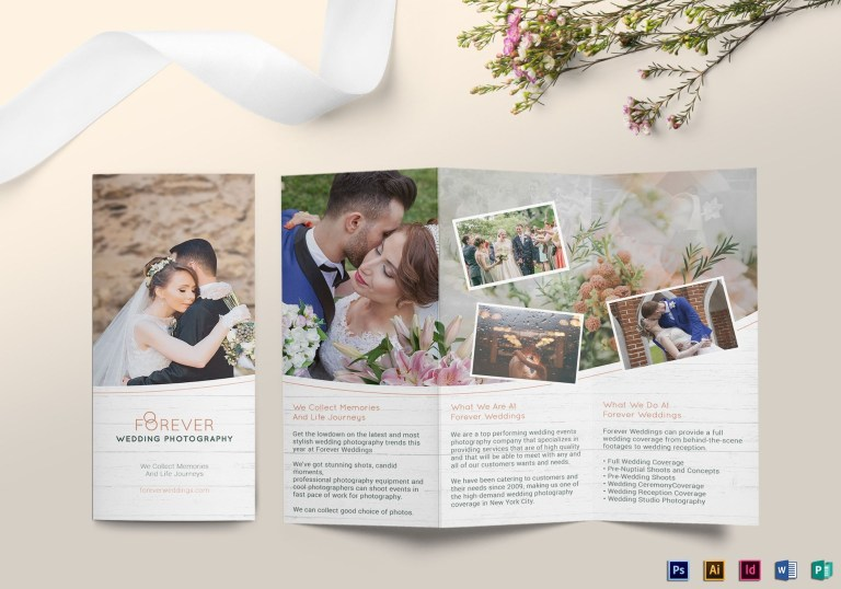 tri fold wedding brochure design template in psd word