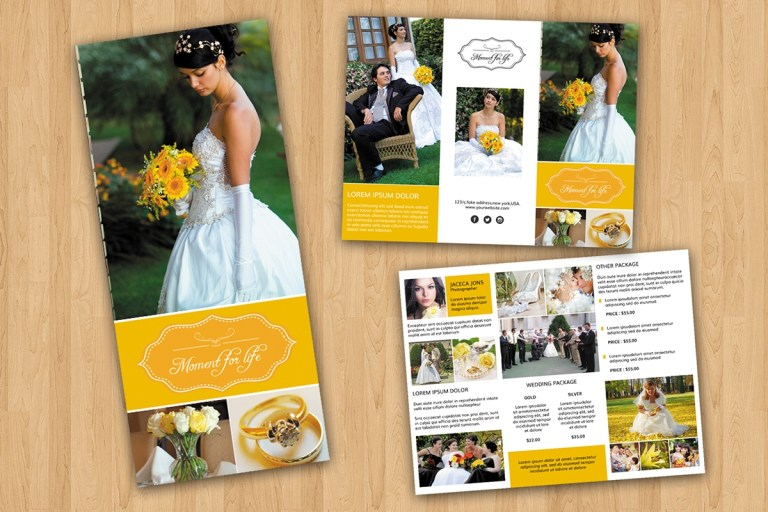 trifold wedding photography brochure on behance