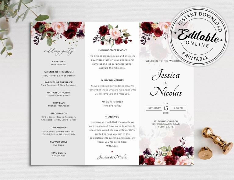 trifold wedding program templates addictionary