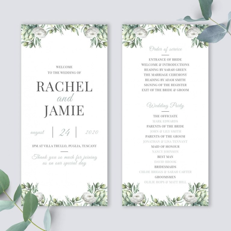 wedding order of service template addictionary