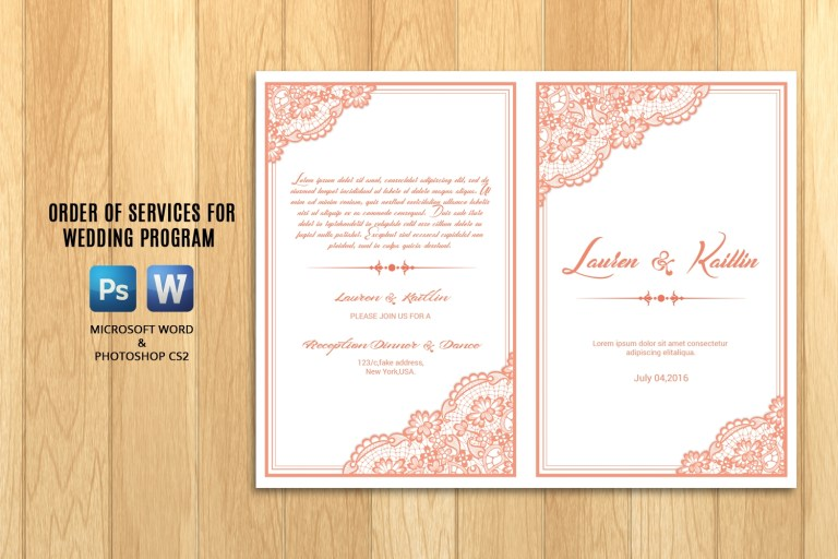wedding program template brochure