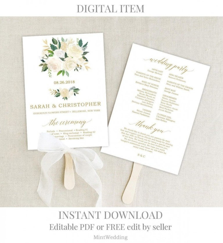 wedding program template free download addictionary