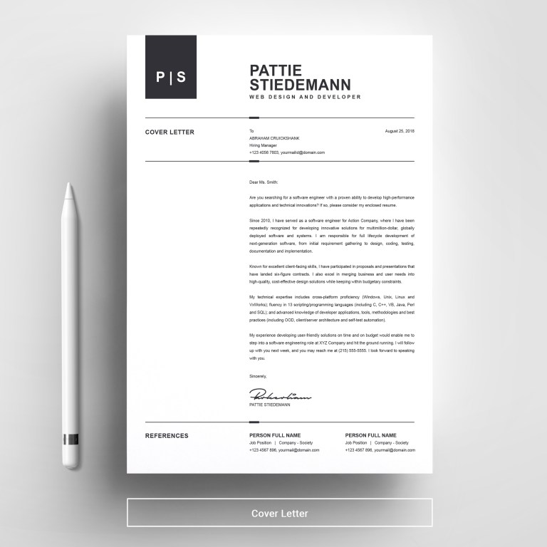 2 pages clean resume template simple basic