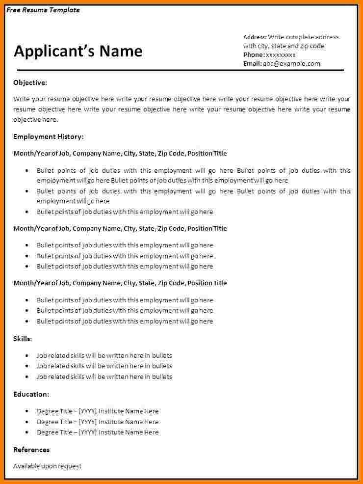 8 blank basic resume templates professional resume list