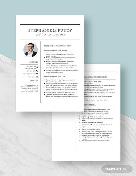 adoption social worker resumecv template word doc