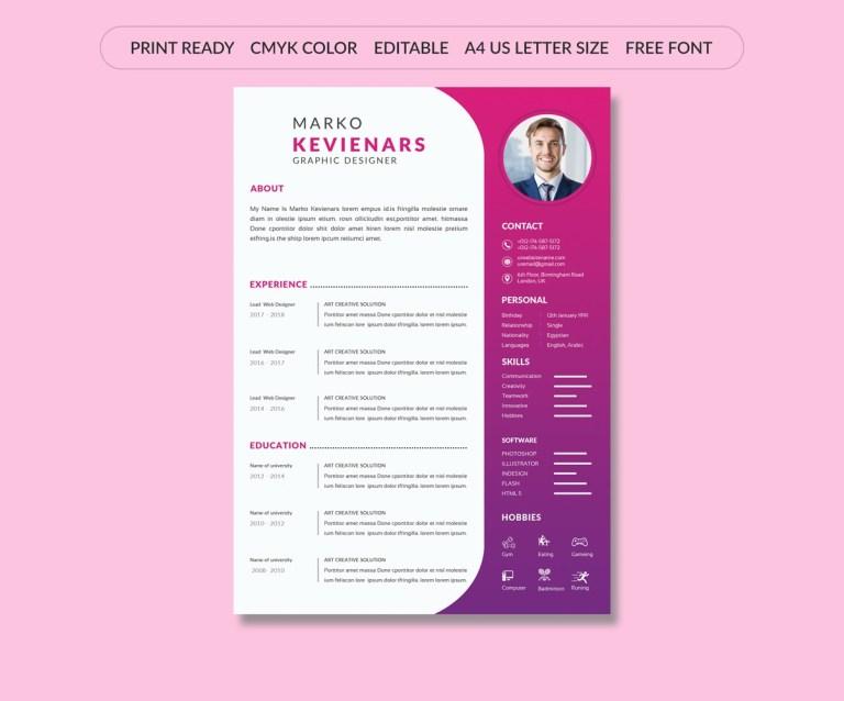 beautiful cv resume template 106282