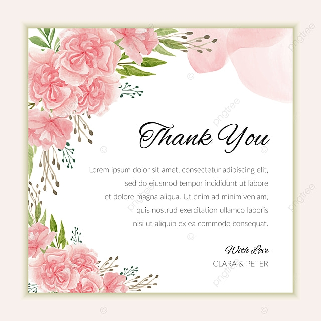 bridal thank you card template with watercolor carnation