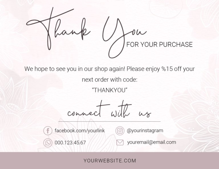 business thank you card template for your purchase note