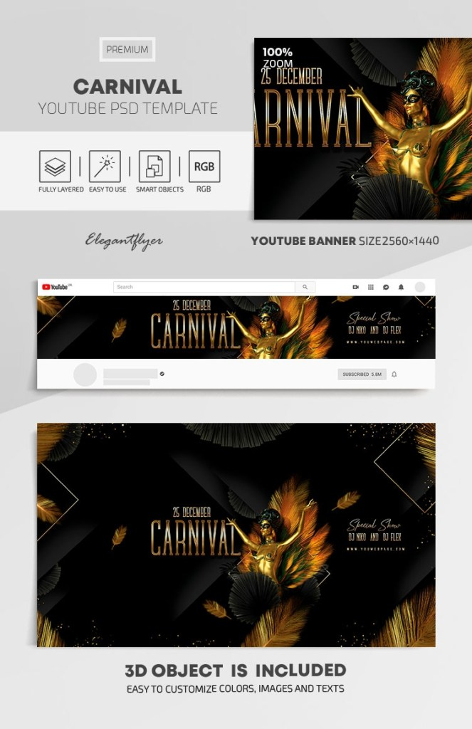 carnival youtube channel banner psd template