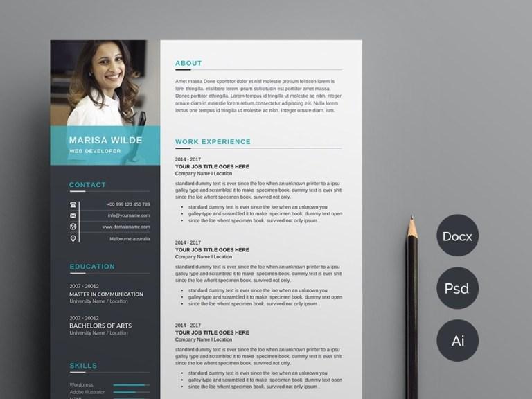 clean cv resume template anda lia on dribbble