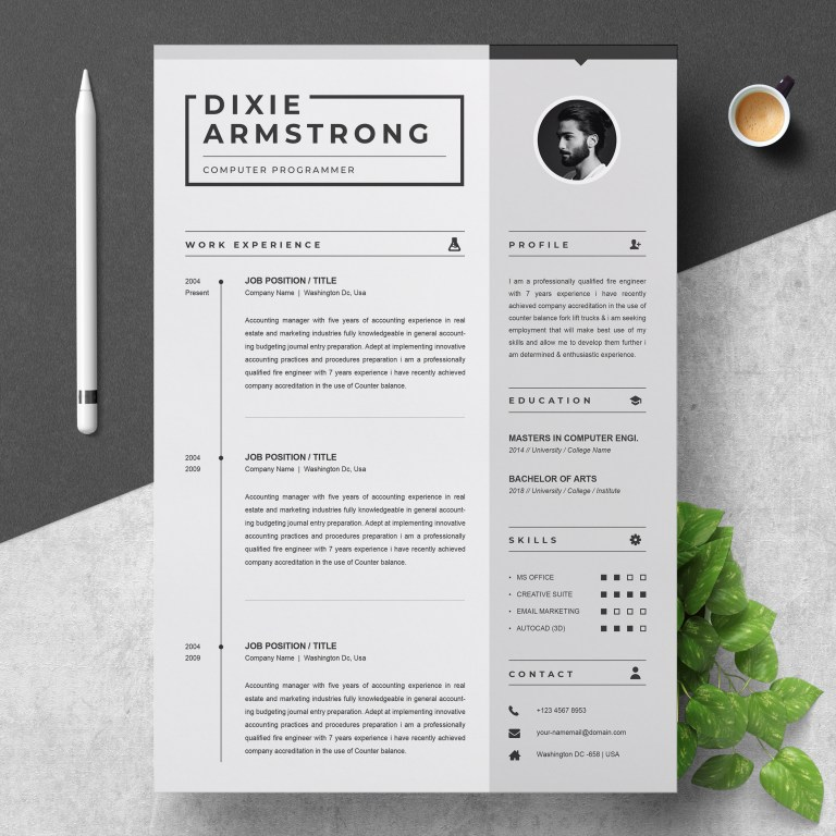 clean resume template simple black and white