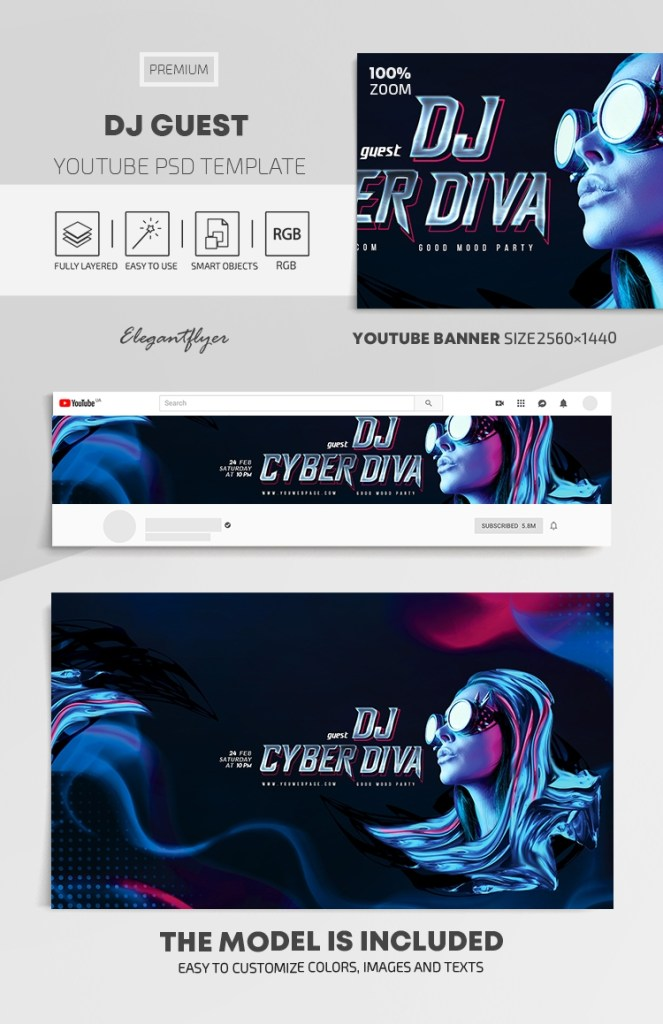 dj guest youtube channel banner psd template