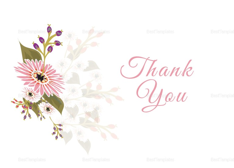 floral wedding thank you card design template in