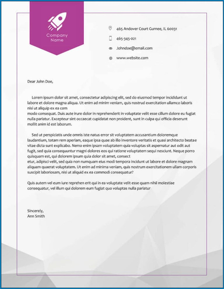 free printable business letterhead design templateral