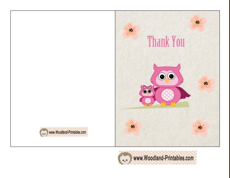 free printable woodland ba shower thank you cards