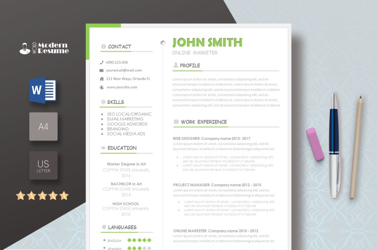 free template modern resume templates 2019