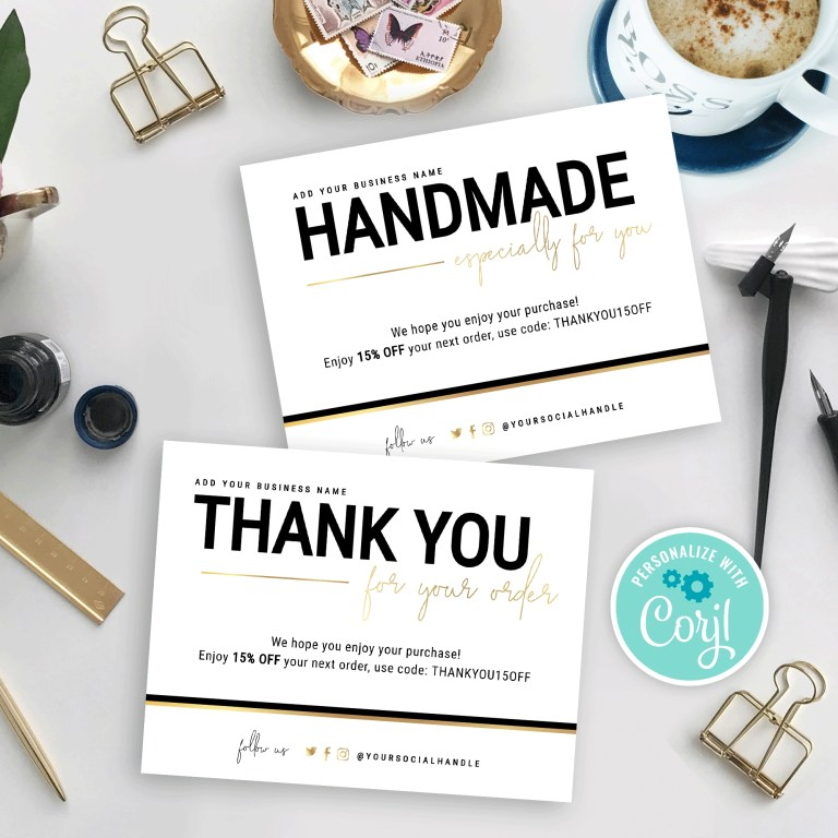 handmade with love card thank you card template