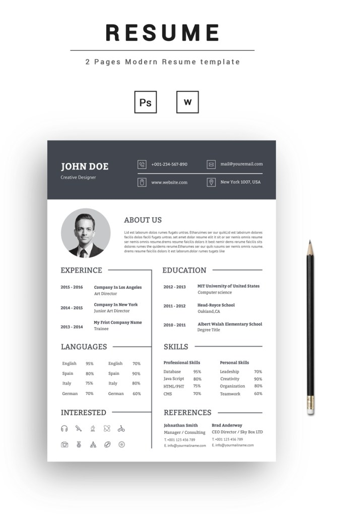 john doe creative resume template 73545