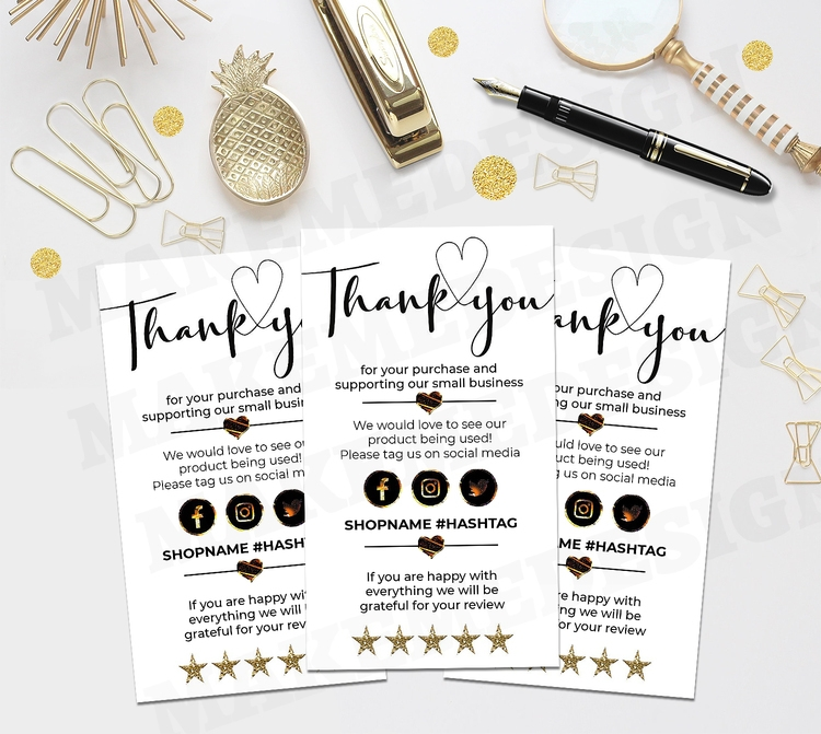 mini thank you for your order cards template small