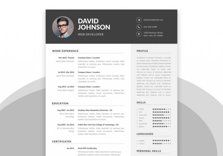 simple resume template in word psd format 2020