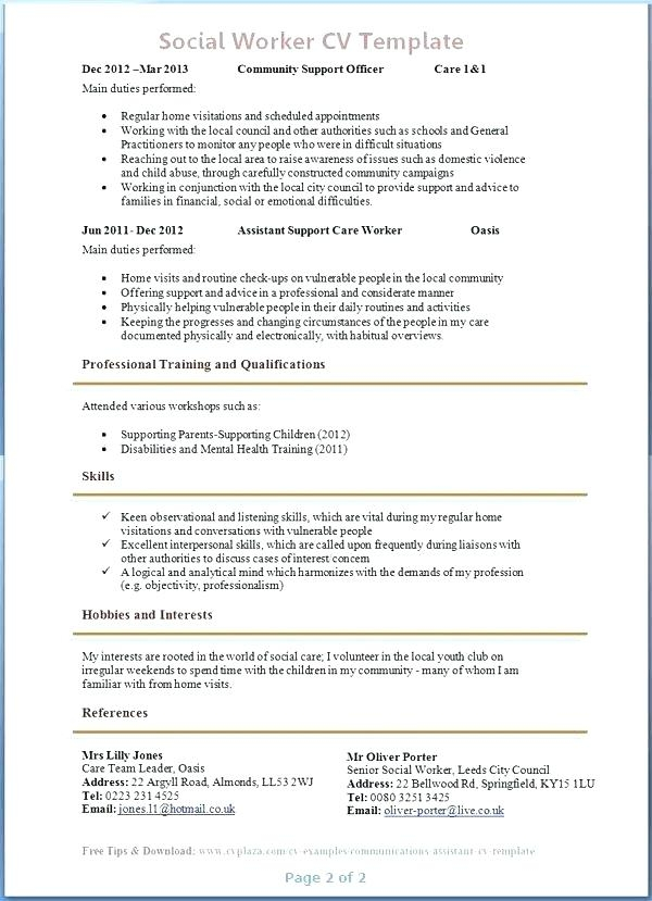 social worker resumes examples free resume templates