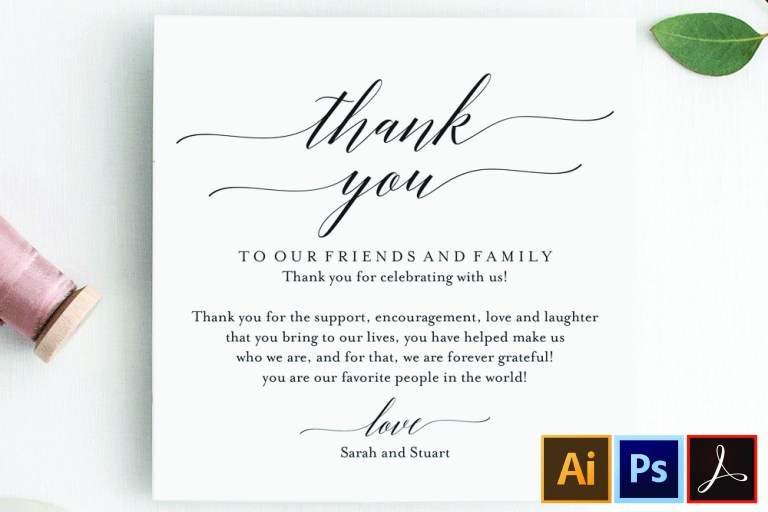 wedding thank you card thank you printable wedding table