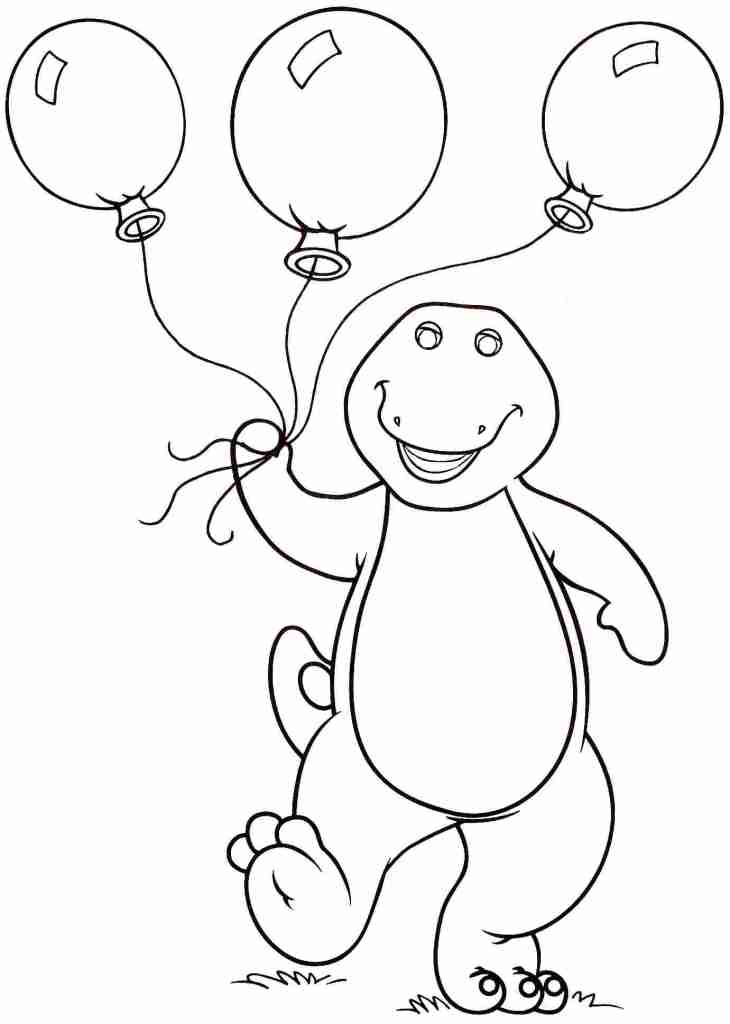 Barney Coloring Pages To Print Ballon