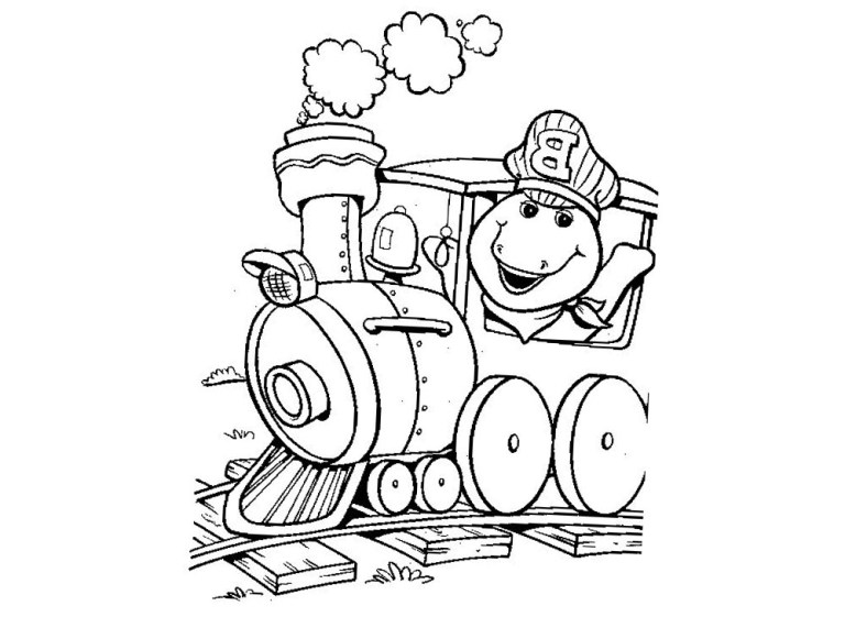 Barney Coloring Sheets Train