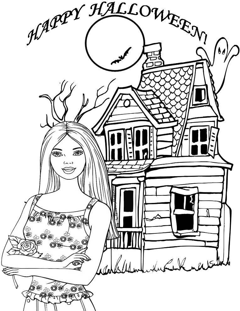 barbie halloween coloring pages for kids 2021