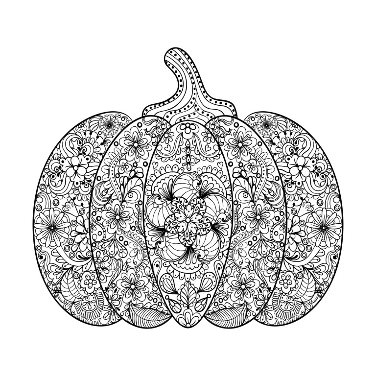 halloween complex pumpkin with flowers and leaves design