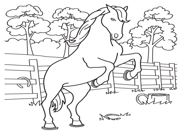 outdoor of horses printable free coloring sheets
