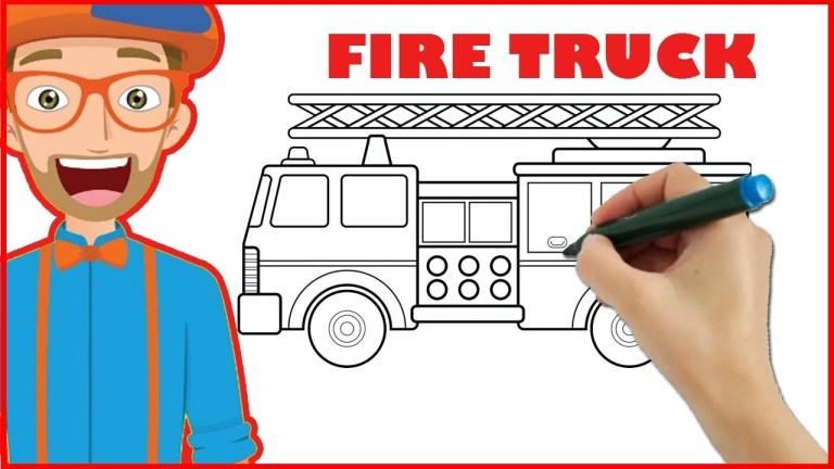 blippi coloring fire trucks for kids
