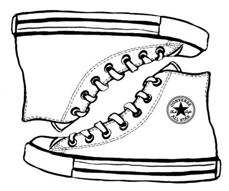 converse sketch drawing vans shoe coloring page